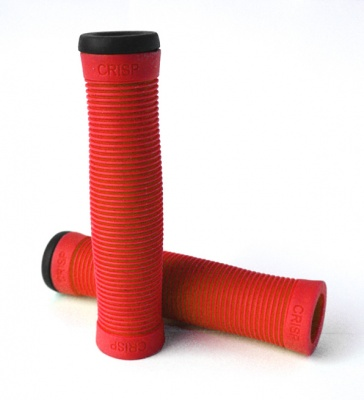 Crisp Handlebar Grips with end caps - Red